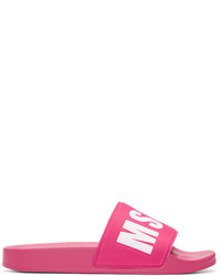 MSGM Pink Logo Slide Sandals