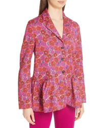 Lela Rose Floral Print Matelasse Peplum Jacket