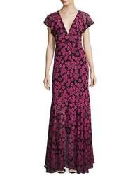 Deni floral print chiffon maxi dress pink medium 3750220