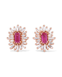 Suzanne Kalan 18 Karat Gold Ruby And Diamond Earrings