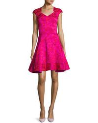 Floral jacquard fit flare cocktail dress medium 5053928