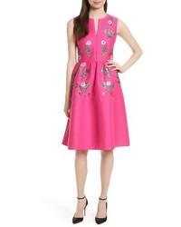 New york floral embellished fit flare dress medium 3723084