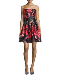 Rubin singer strapless floral print party dress pinkblack medium 3662326