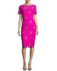 Lela Rose Floral Lace Short Sleeve Sheath Dress Fuchsia