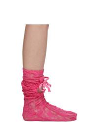 Comme des Garcons Pink Lace Socks