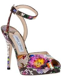 Liz floral python leather sandal medium 308967