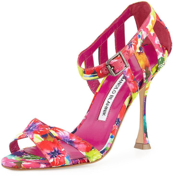 4168e2ac7c96 ... Hot Pink Floral Leather Heeled Sandals Manolo Blahnik Ranca Floral  Print Strappy Sandal Pinkmulti ...