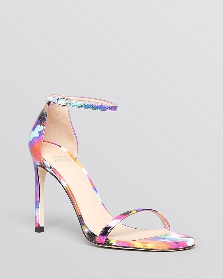 Stuart Weitzman Ankle Strap Sandals Nudistsong High Heel Floral ...