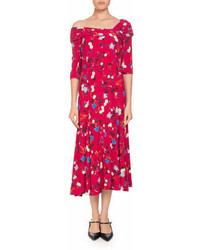 Erdem Iman One Shoulder Half Sleeve Garden Floral Print A Line Dress