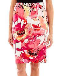 Worthington floral print pencil skirt petite medium 211810