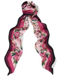 Dolce & Gabbana Floral Print Silk Twill Scarf Pink