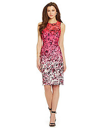 Hot Pink Floral Sheath Dress