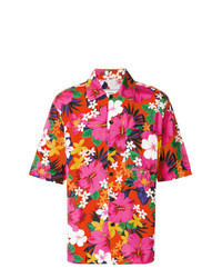 Hot Pink Floral Short Sleeve Shirt