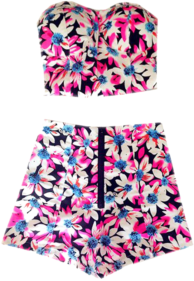 Choies Limited Edition Pink Floral Crop Top With High Waist Shorts ...