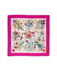 Gucci Gg Flora Fluorescent Border Silk Scarf