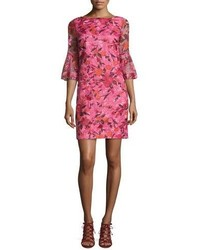 34 sleeve floral silk shift dress pink medium 1149731