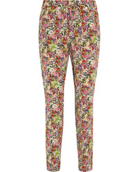 Equipment Hadley Floral Print Washed Silk Tapered Pants Fuchsia