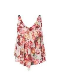 New Look Pink Floral Print Double Layer Sleeveless Top
