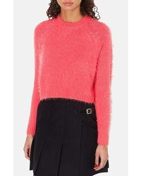 Hot Pink Fluffy Cropped Sweater