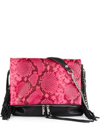 Ash Kimi Leather Fringe Crossbody Bag Pink Snake