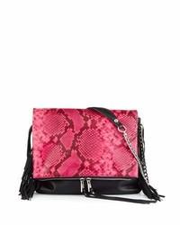 Ash Kimi Leather Fringe Crossbody Bag Pink Snake
