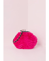Missguided Chain Strap Fur Clutch Bag Pink