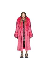 Gucci Pink Faux Fur Oversized Coat