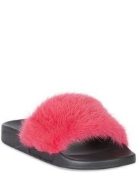 Givenchy Mink Fur Rubber Slides