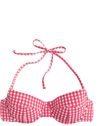 8742d2a97b445 ... J.Crew Dd Cup Gingham Seersucker Demi Underwire Halter Bikini Top