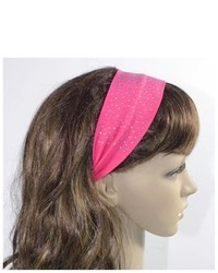 Dahlia Pearls Simple Sparkling Rhinestone Stretch Cotton Headband Pink