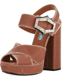 Prada Jeweled Velvet Block Heel Sandal