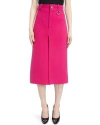 Balenciaga Herringbone Weave Wool Blend Pencil Skirt