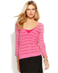 Illusion stripe shimmer cardigan medium 159532