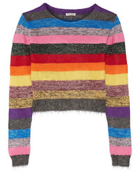 Miu Miu Cropped Metallic Striped Stretch Knit Sweater Pink
