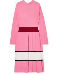 Marni Pleated Color Block Crepe Midi Dress