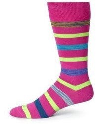 Hot Pink Horizontal Striped Socks