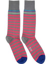 Pink grey two stripe socks medium 4391805