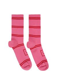 Acne Studios Pink Motif Jacquard Striped Socks