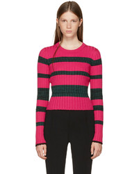 Proenza Schouler Pink And Green Striped Crewneck Pullover
