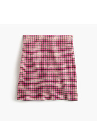 Tall mini skirt in pink houndstooth medium 790239