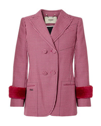 Fendi Shearling Trimmed Houndstooth Wool Blazer