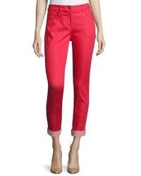 St. John Collection Bardot Slim Fit Capri Jeans Hibiscus