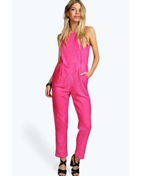 3fb1956df6 Boohoo Sheema Crossed Strap Front Jumpsuit Out of stock · Boohoo Boutique  Helen All Over Crochet Jumpsuit