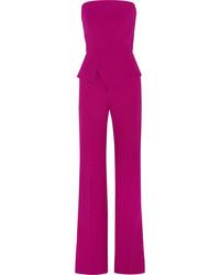 Lyon wool crepe peplum jumpsuit fuchsia medium 3715729