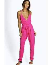 b546e28861d0 ... Boohoo Sophie Solid Colour Wrap Front Self Belt Jumpsuit