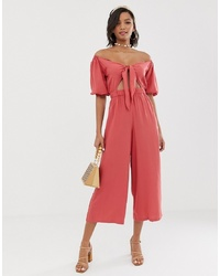 ASOS DESIGN Tea Jumpsuit With Puff Sleeve And