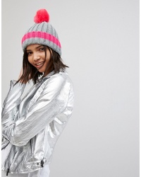 Brave Soul D Ribbed Hat With Faux Pom And Contrast Tipping In Hot Pink
