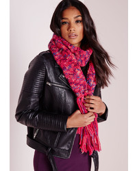 Missguided Chunky Knit Scarf Pink