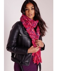 Missguided Chunky Knitted Scarf Pink