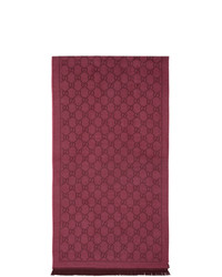 Gucci Pink And Red Wool Jacquard Gg Scarf